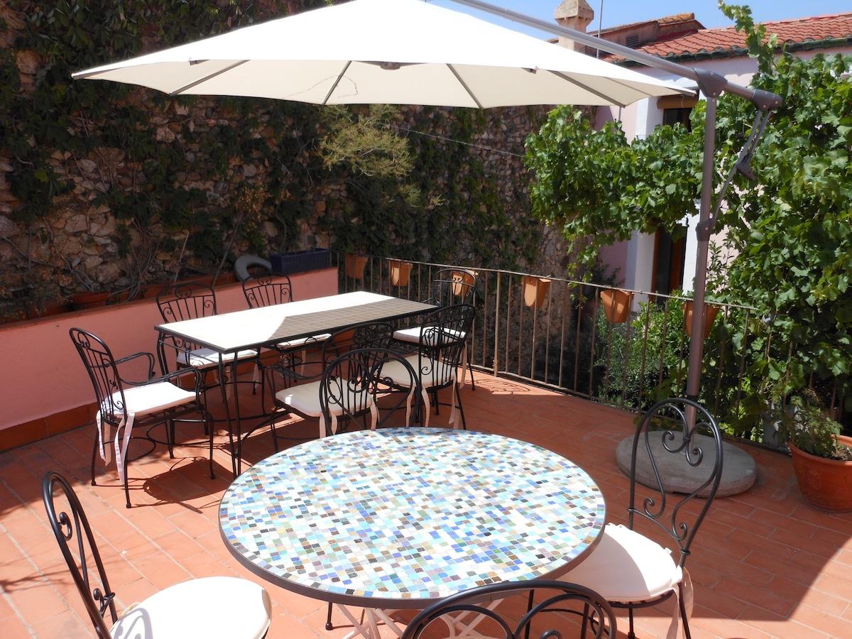 terraza Casa rural El Pati de l´Albera