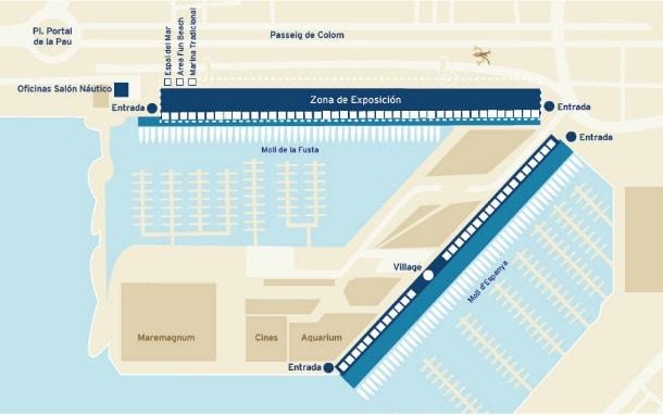 mapa Salón náutico de Barcelona 2015