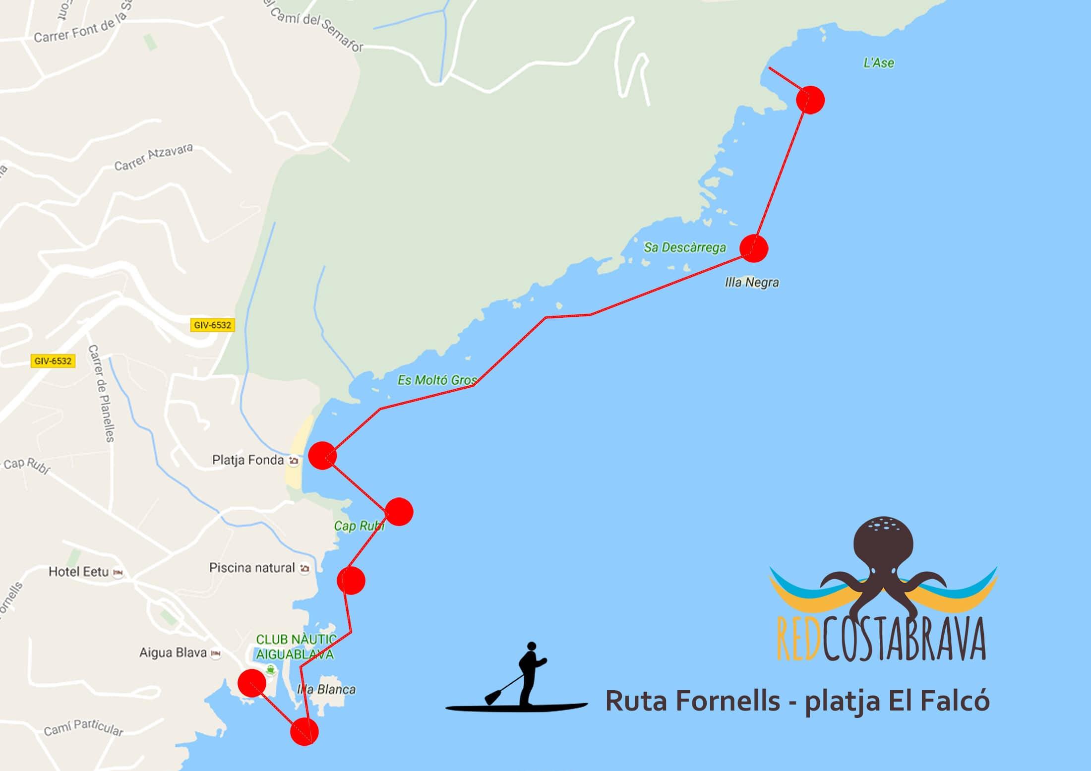 MAPA - Ruta desde Fornells a la playa El Falcó