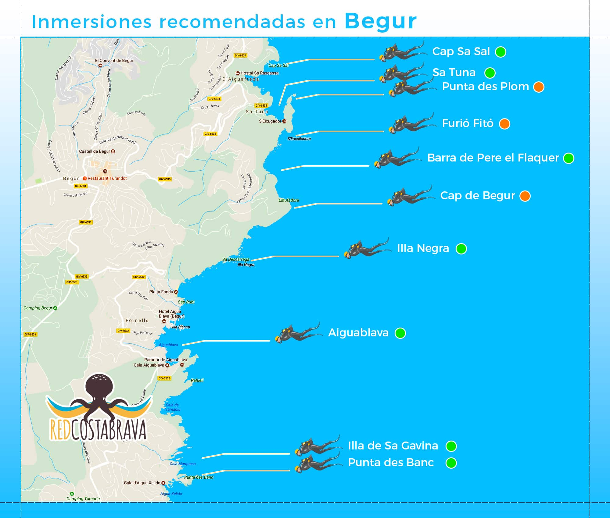 mapa de inmersiones de buceo recomendadas en Begur